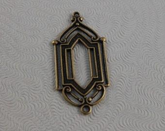 LuxeOrnaments Oxidized Brass Filigree Window Pendant (2 pcs) 28x13mm G-07005-B