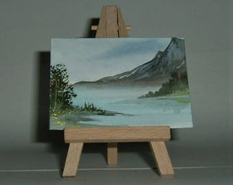 aceo miniature art painting mountain lake (ref (E142)