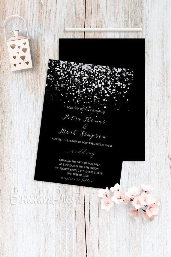 Silver Wedding Invitations Black Wedding Invitation Printable