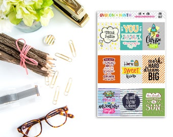 Quote Boxes // Planner Stickers // FB107