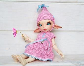 """NEW RealFee Knitted Outfit """"Pink Elf"""", RealFee dress, RealFee Set of clothes, RealFee shoes, RealFee Clothing Set, clothes Realfee FairyLand"""