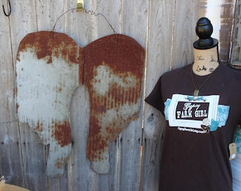 Rustic Tin Angel Wings, Rusty Wings, Wings made out of old tin, galvanized wings, tin wings, roots and wings, garden decor, door decor