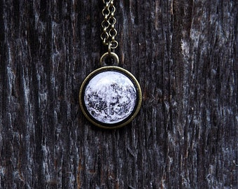 Tiny Full Moon Necklace, Tiny Pendant, Black & White, Planets Jewelry, Space Jewelry, Solar System Necklace, Midnight, Gifts
