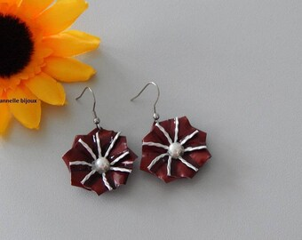 Earrings with Burgundy form capsules Edelweiss