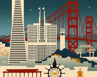 San Francisco, California - Retro Skyline (Art Prints available in multiple sizes)