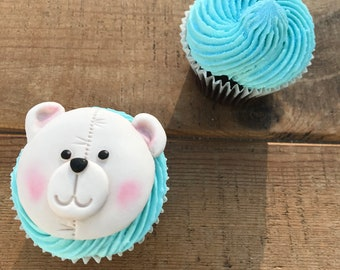12x Teddy bear cupcake toppers