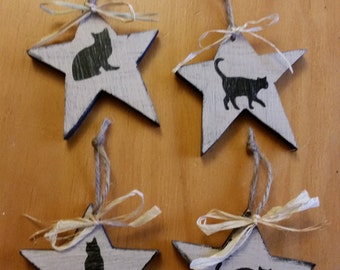 Primitive handmade wooden Black cat primitive star Ornies Set of four