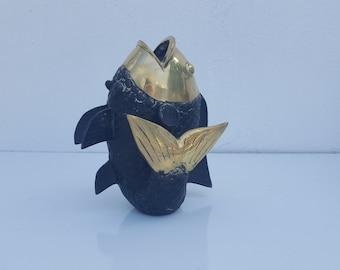 Vintage Solid Brass Decorative  Fish Sculpture  / Vase .