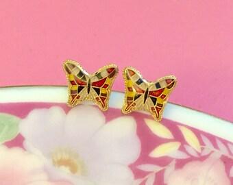 Tiny Little Butterfly Earrings, Vintage Enameled Metal Post Earrings, Yellow Red Blue Gold Butterflies
