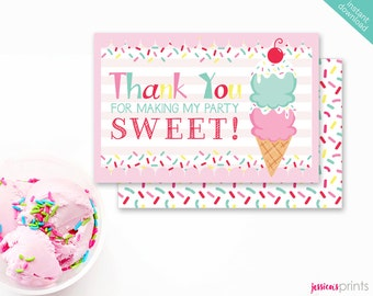 Instant Download Ice Cream Printable Thank You Card, Ice Cream Cone Thank You Note Card, Ice Cream Party Printable, Sprinkles