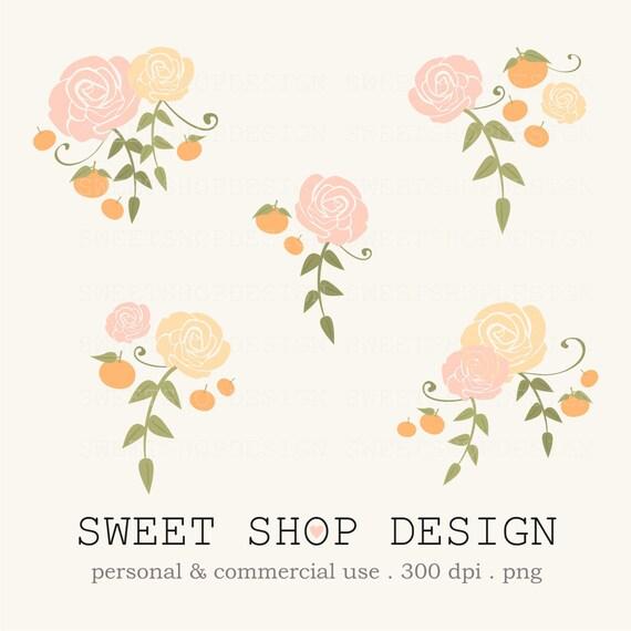 rose clip art flower clip art wedding clip art royalty free rh etsy com free floral clipart free floral clip art