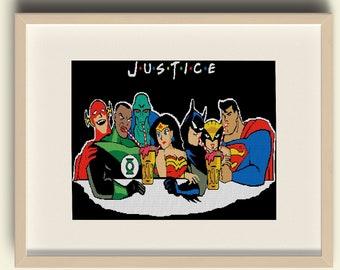 Justice League  Cross Stitch, Hawkgirl,Martian Manhunter,Batman, Superman, The Flash, Green Lantern, Wonder Woman, PDF Download #d23