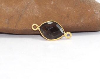Natural Smoky Quartz 10x12mm Clover Briolette 18k Gold Plated Bezel Connector