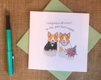 Hand painted corgi wedding congratulations card
