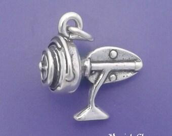 FISHING REEL Charm .925 Sterling Silver Fisherman, Fly Fishing Pendant - lp3998