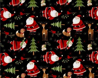 Christmas Fabric by the Yard, Cotton, Santa, Woodland, Stocking, Quilt, Reindeer, Tree, Childrens, Decorations, Holiday, Friends, Red, Decor