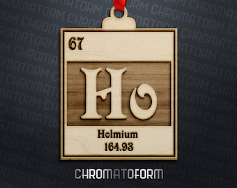 Holmium - Chemical Element Christmas Ornament - Laser engraved