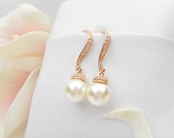 FREE US Ship Rose Gold Swarovski Pearl Bridal Earrings Pearl And CZ Rose Gold Earrings Rose Gold Bridal Earrings Bridal Jewelry