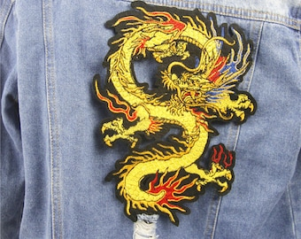1 Piece Chinese Dragon Embroidered Patch , Dragon Applique for Garment,Large Chinese Dragon Applique Patch,