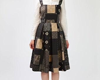 Fit and flare 1950s dress with print Beige 50s dress Beige party dress Beige cocktail dress Japanese cotton dress Tea length dress