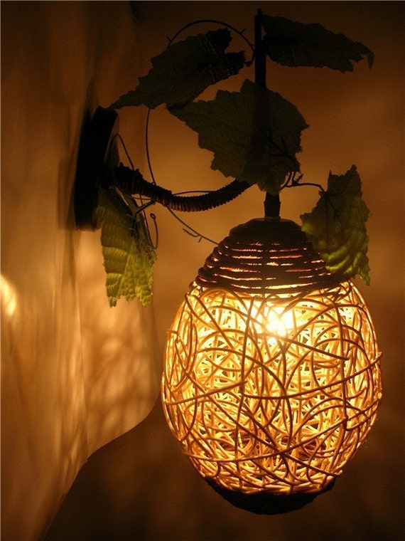 Handmade woven rural cany art creative wicker wall lamp aloadofball Images