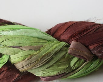 Hand Dyed Double Colour Recycled Sari Silk Ribbon - 'Coco & Lime'