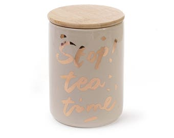 Porcelain Jar Stop! Tea Time with a bamboo lid, color - latte with gold