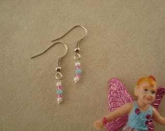 Earrings little girl blue, pink and white