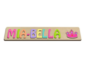 Personalized Wooden Name Puzzle Child's Name Princess Crown id242110278