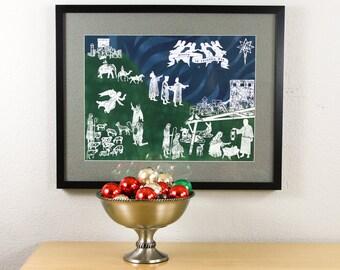 Advent Nativity Framed Manger Scene Christmas Decor Art Print - Hand Painted and Hand-Pulled Silkscreen on Muslin