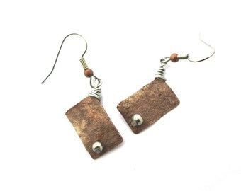 Asymmetric copper rectangular earrings, hammered oxidized copper rectangles,stainless steel finishing, copper rectangles, mixed metals
