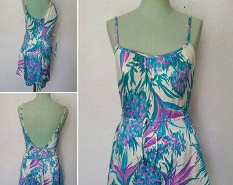 1980s Vintage Tropical Floral Swimsuit Skirt