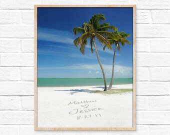 Tropical Beach Wall Print, Personalized Art, Sand Writing, Beach Decor, Personalized Couples Gift, Custom Beach Gift, Tropical Decor