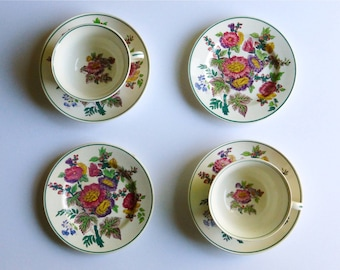 Two Antique Wedgwood Etruria Hollyhock Teacup, Saucer & Cake Plate Sets, England. Perfect for a Vintage Tea Party, Gift or Styling Prop