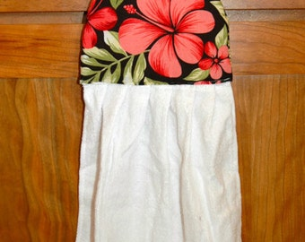 Two Hanging Hand Towels Red Hibiscus Flower Coconut Button ~1 Set