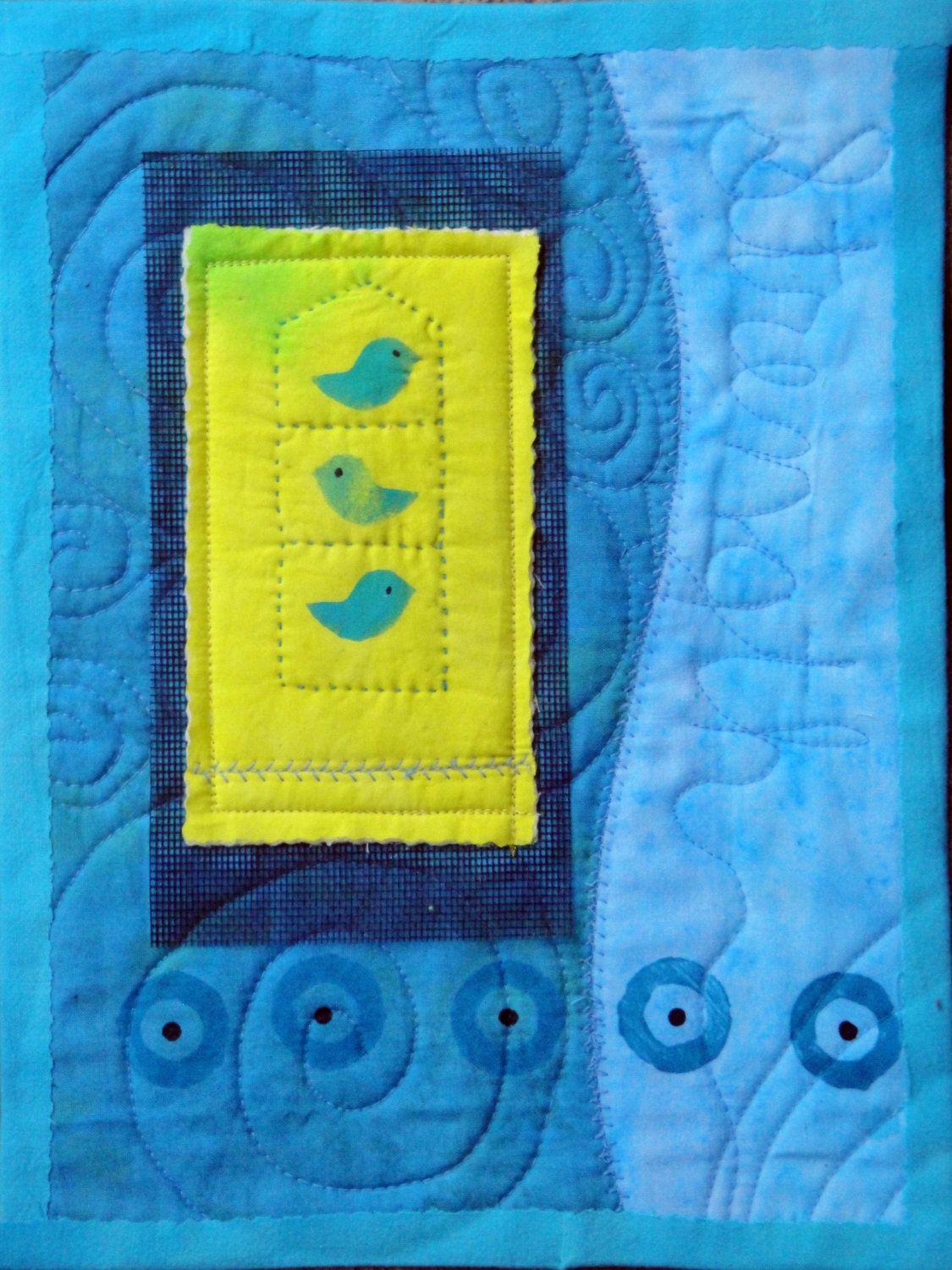 Cheerful Fiber Art Bird Quilted Art Wall Hanging on Black