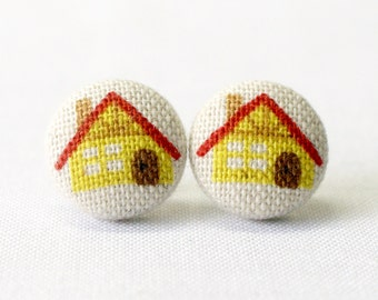 Little Red Riding Hood's Cottage House Earrings (Set of 2) ~ Button Earrings ~ Fabric Button ~ Covered Button - 15mm (0.59 inch)