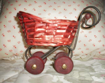 Vintage Tiny Wicker Carriage