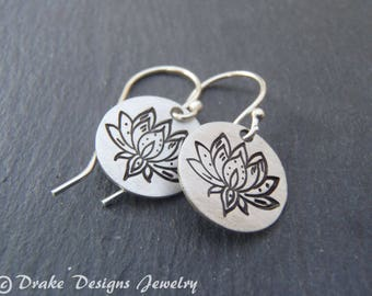 lotus earrings Sterling silver inspirational jewelry lotus flower
