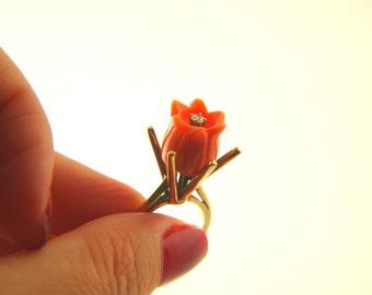 Coral Flower Ring - Tulip Carved - 10k Gold - Vintage