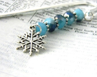 Snowflake Bookmark with Blue Glass Beads Shepherd Hook Steel Bookmark Silver Color