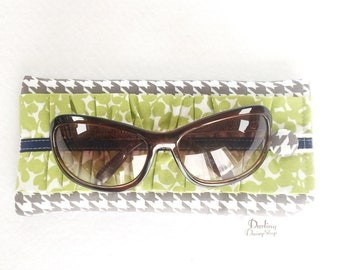 Gray Houndstooth & Grass Green soft sunglasses case, glasses pouch, ruffled glasses case, ladies ruffled sunnies case, padded glasses case