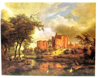 The Ruins Of Brederode Castle - Meindirt Hobbema - Dutch Painter - Masterpiece Painting - 1966 Vintage Print Reproduction - 12 x 15
