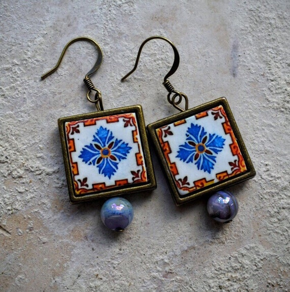 Portugal  Antique Azulejo Tile Replica FRAMED TILE Earrings,  Aveiro Brown and Blue  - waterproof and reversible 315 F