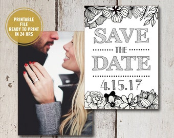 Save the Date Printable, Printed Save the Date Cards, Rustic Wedding Announcements with Engagement Photos, Personalize Printed Save the Date