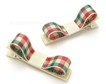 Plaid Hair Clips, Red and Green Holiday Plaid, Festive Hair Clips Hipster Plaid, Cream, Green, Red, One Pair Tuxedo Clips Baby Toddler Girls