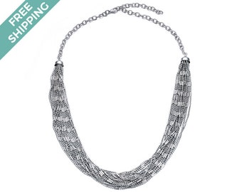 Silver Beaded Multi-layered Costume Jewellery Necklace