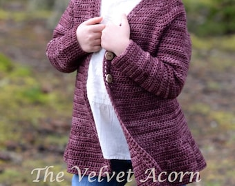CROCHET PATTERN-The Kiltyn Sweater 1/2, 3/4, 5/6, 7/8, 9/10, 11/13, xsm, sm, med, med/large, large, xlarge, xxlarge, 3xlarge, 4xlarge