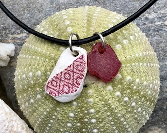 Sea glass jewelry- Red sea glass and Red sea glass pottery necklace