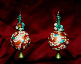 OOAK Avant Garde Metallic Ball Earrings Green Copper Turquoise